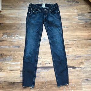 True Religion- Dark wash raw hem skinny jeans